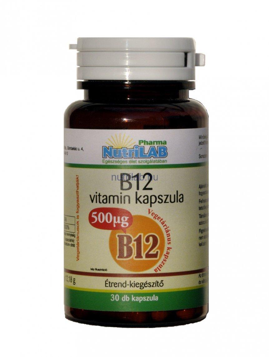 NutriLAB B12 vitamin vega kapsz 500 µg 30X